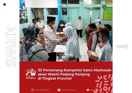 33 Pemenang Kompetisi Sains Madrasah Akan Wakili Padang Panjang di Tingkat Provinsi